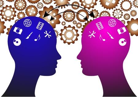 illustratie van twee hoofden met media-symbool