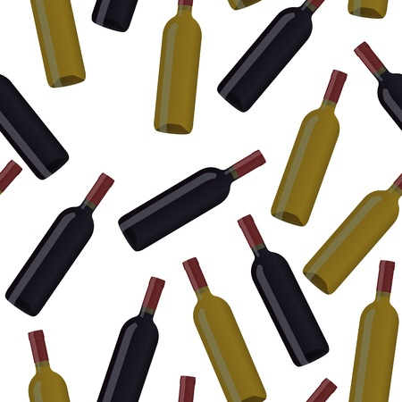 illustration of wine bottles, seamless pattern Vector