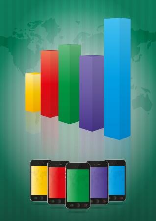 staaf diagram: illustratie van smartphone met staafgrafiek