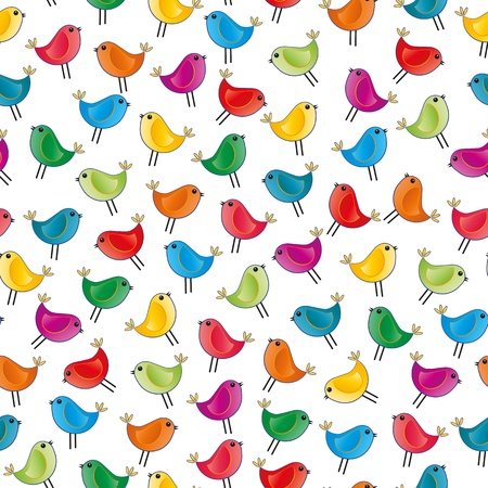 illustration of colorful small bird, seamless pattern Stock Vector - 18234129