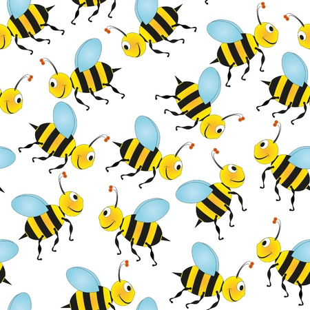 illustration of colorful bees, seamless pattern Vector