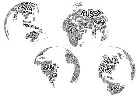 illustratie van de wereldkaart wereldbol met landnaam