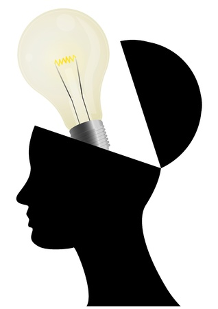 illustration of silhouette open head with lightbulb Vector