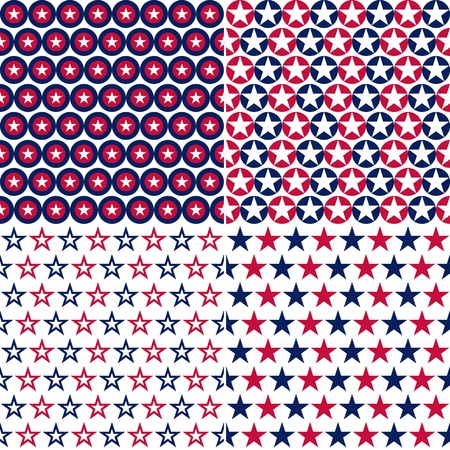 aligned: illustration set of star and circle with usa colors, seamless pattern Illustration