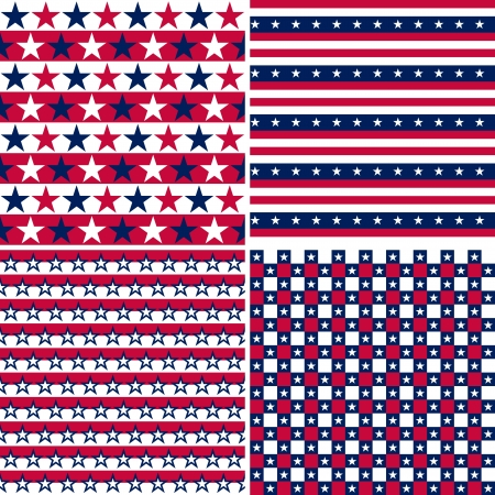 aligned: illustration set of stars and stripes usa colors, seamless pattern