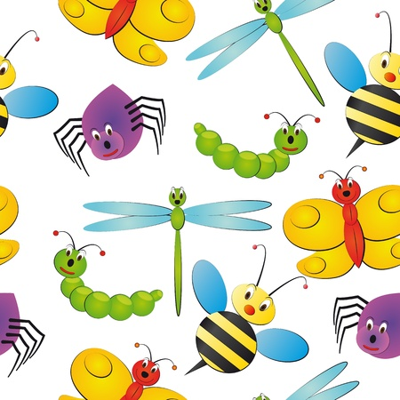 illustration of characteristic bug seamless pattern Vector