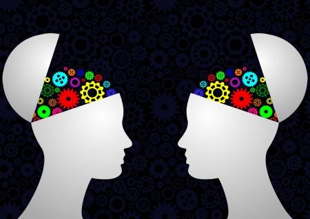 mente humana: ilustraci�n de la cabeza con engranajes coloridos
