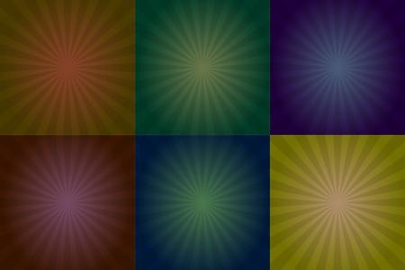 illustration set of colorful sunburst square Stock Vector - 18723040