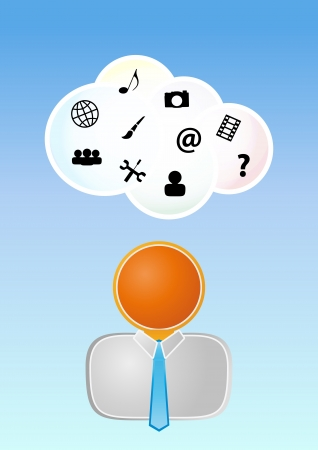 illustration of orange man with cloud and multimedia icons Stock Vector - 18723034