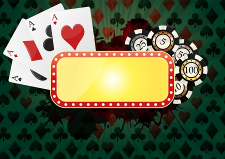 illustration of yellow banner for casino with green background Stock Vector - 18816601