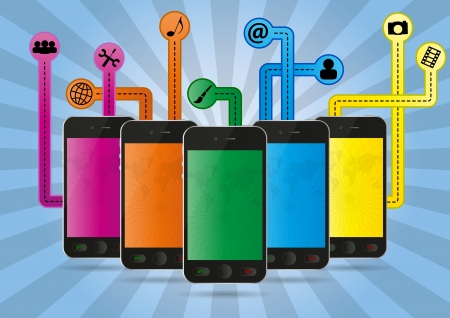 illustration set of cellular phone with multimedia graphic