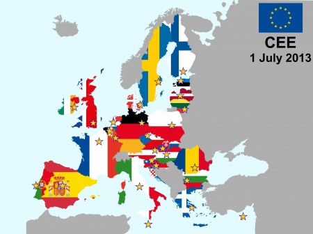 malta cities: illustration of european union map with flags, from 1 july 2013