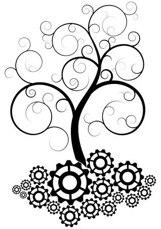 illustration of black swirl tree with gear Иллюстрация