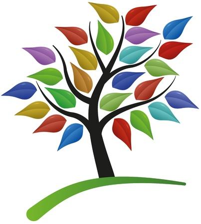 albero della vita: illustrazione di albero con foglie colorate