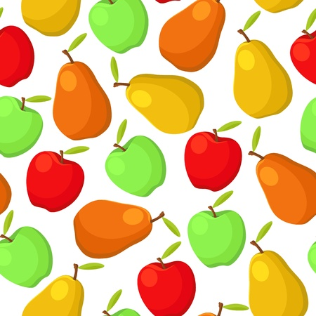illustration of colorful pears and apples seamless pattern Vector