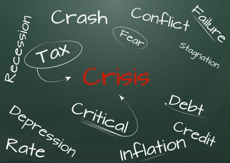 illustration of crisis text on green chalkboard