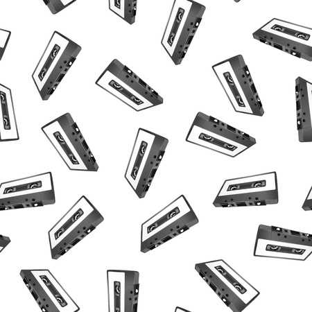 illustration of audio cassette, seamless pattern Vector