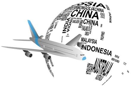 southeast asia: illustration of airplane around the world