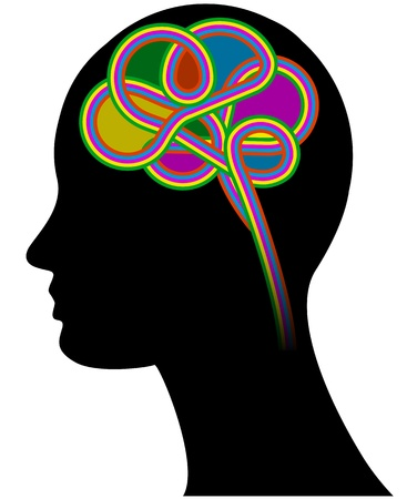 illustration of colorful brain with human head Vector
