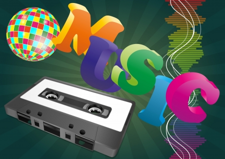 illustration of music text with tape cassette Vector
