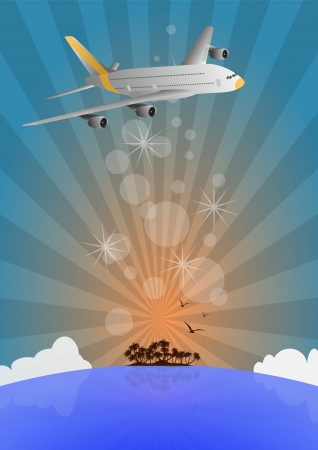 illustration of airplane with sea and island Vector