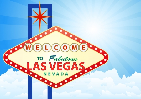 vegas strip: illustration of las vegas signal with cloud and sunburst in background Illustration