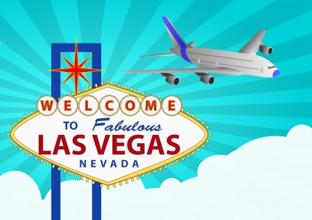 illustration of las vegas signal with airplane Vector