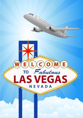 las vegas strip: illustration of las vegas signal with airplane