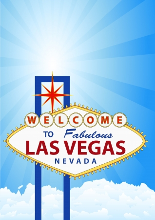 las vegas strip: illustration of las vegas signal with cloud and sunburst in background Illustration