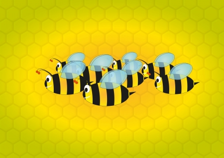 illustration of bees cartoon with beehive in background Vector