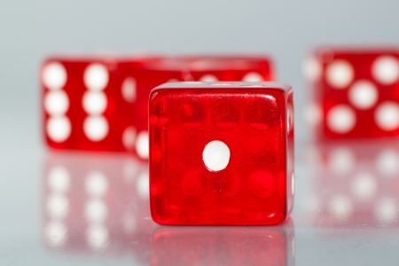 photography macro of dice with reflection on table Stock Photo - 19661647