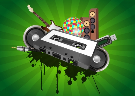 illustration of tape cassette with audio device Vector