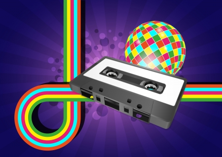 illustration of tape cassette with color graphic Vector