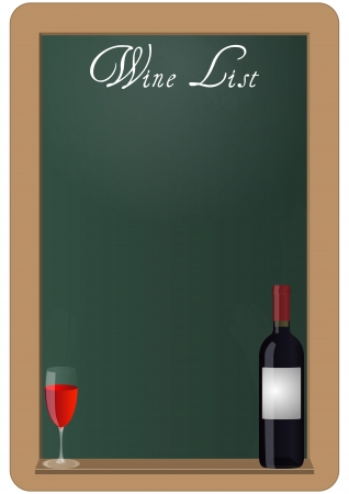 illustration of wine list in chalkboard with wine bottles nad glass Stock Vector - 19661685