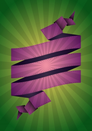 illustration of ribbon with colorful sunburst