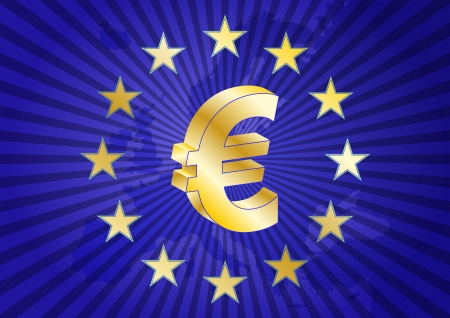 illustration of euro currency symbol with europe maps Vector