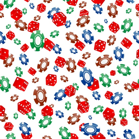 illustration of colorful chips and dice seamless pattern Stock Vector - 20140927