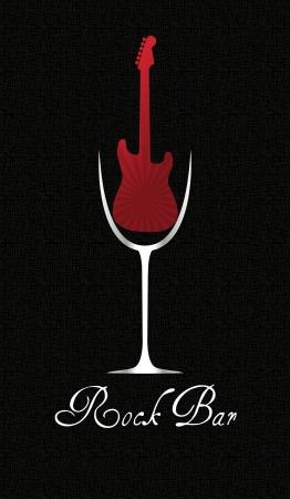 illustratie van glas wijn met rode elektrische gitaar