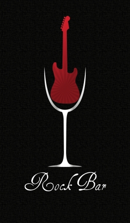 vertical bar: illustration of glass wine with red electric guitar