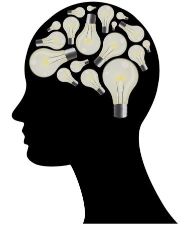 illustration of bulblamp brain with human head Stock Vector - 20140939