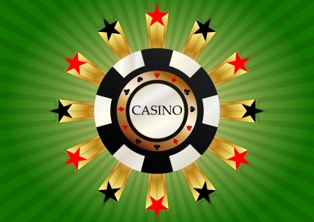 illustration of casino chips with red and black stars