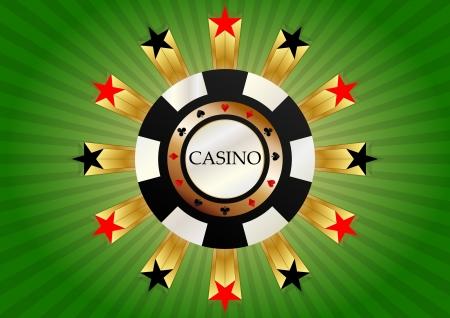 Ilustración de fichas de casino en rojo y negro de estrellas Foto de archivo - 20329266