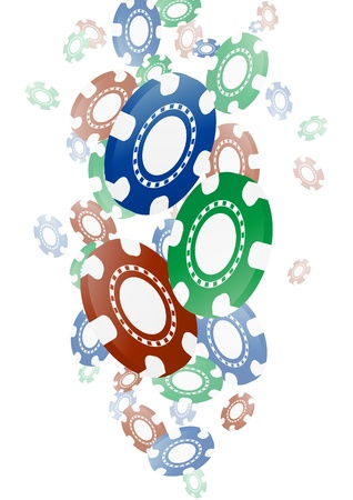 illustration of fallen colroful chips for casino Stock Vector - 20329265