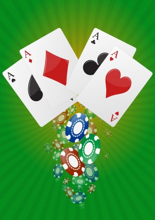 illustration of aces poker with  colorful chips casino Stock Vector - 20329271