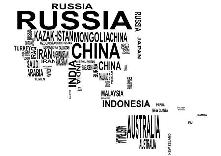 planisphere: illustrazione di Asia e Oceania mappa con il nome del paese