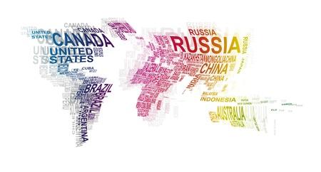 planisphere: illustrazione della mappa del mondo con il nome del paese Vettoriali