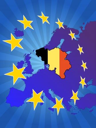 euro area: illustration of belgium map with stars european
