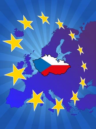 euro area: illustration of republic of czech map with stars european Illustration