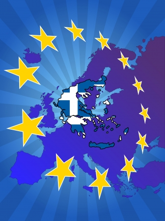 euro area: illustration of greece map with stars european