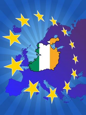 eire: illustration of ireland map with stars european Illustration